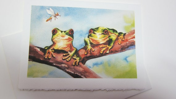 Frog print  Red Eye Tree Frog Note Card 5 x 7 green  dragonfly Greeting cards Handmade watercolorsNmore