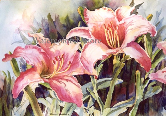 Lilies, ACEO, watercolor print, flower, 672 Florida Hot Lillies, lily coral, orange