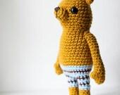Soft toy amigurumi bear, soft sculpture - Adam the bear. Mustard bear with blue brown striped pants