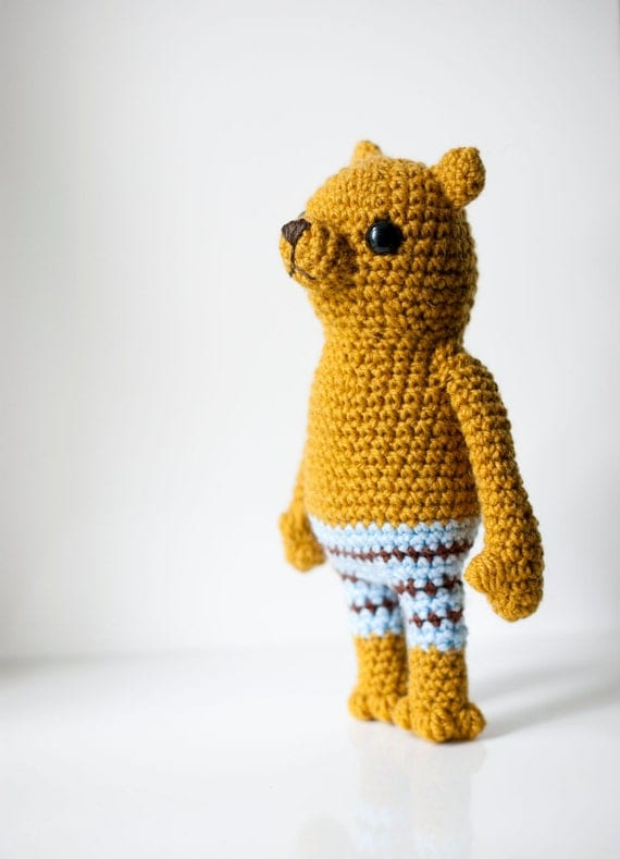 Soft toy amigurumi bear, soft sculpture - Adam the bear. Mustard bear with blue brown striped pants