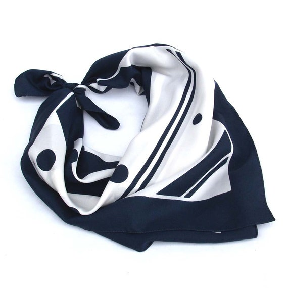 Spots and Stripes - Vintage Scarf - Navy and White