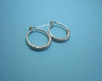 "7/16""(11mm) Mini sterling silver wire hoops with coil"