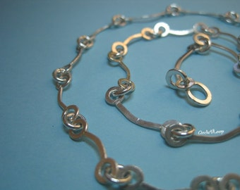 Bar n Loops chain sterling silver necklace