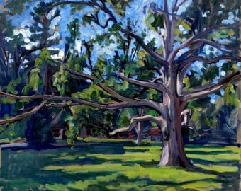 The Old Tanglewood Tree. Realist Oil Painting Landscape on Canvas, 20x24 Strip Framed Plein Air Impressionist Oil, Signed Original Fine Art