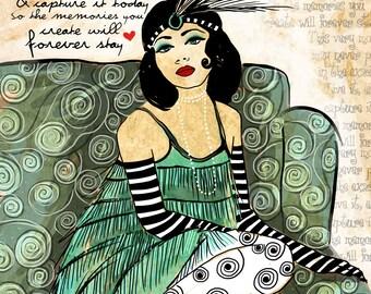 Memories / Green Flapper 1920s / original illustration ART Print Hand SIGNED size 8 x 10