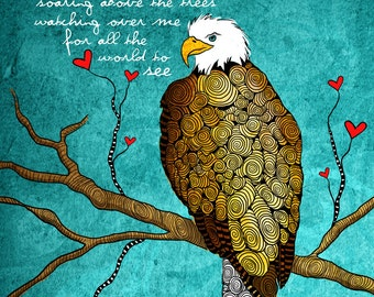 The Eagle / the protector freedom original illustration ART Print SIGNED / 8 x 10 / NEW