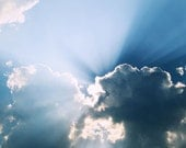 Photography of Cloudy Blue Summer Sky Nature Art Print