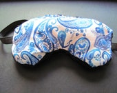 Blue Paisley Design Eye Mask, with black facial side, for sleeping, relaxing or recovering.