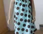 Polka Dots in Mint and Brown Cotton Print  (All sizes Available)