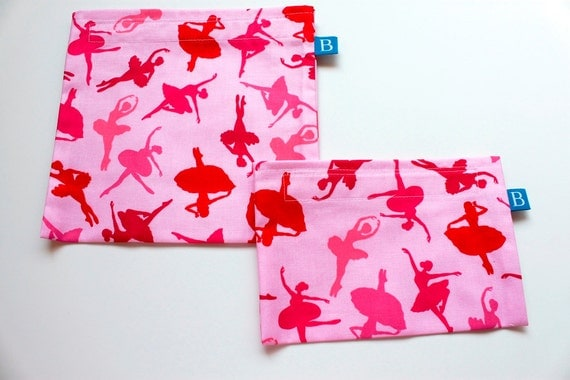 Reuseable Eco-Friendly Set of Snack and Sandwich Bags in Pink  Ballet Dancers Fabric