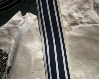 "3 yds. of vintage navy/white striped grosgrain ribbon 1 1/2 """