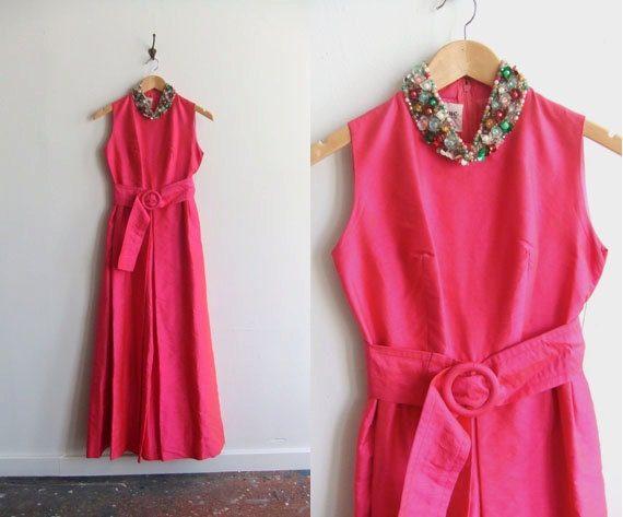 SALE////Vintage 1960s PARK AVENUE hot pink shantung silk jumpsuit with jeweled collar