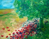 Poppy Hill oil painting original 70 x 90 cm flowers and trees Dutch painting