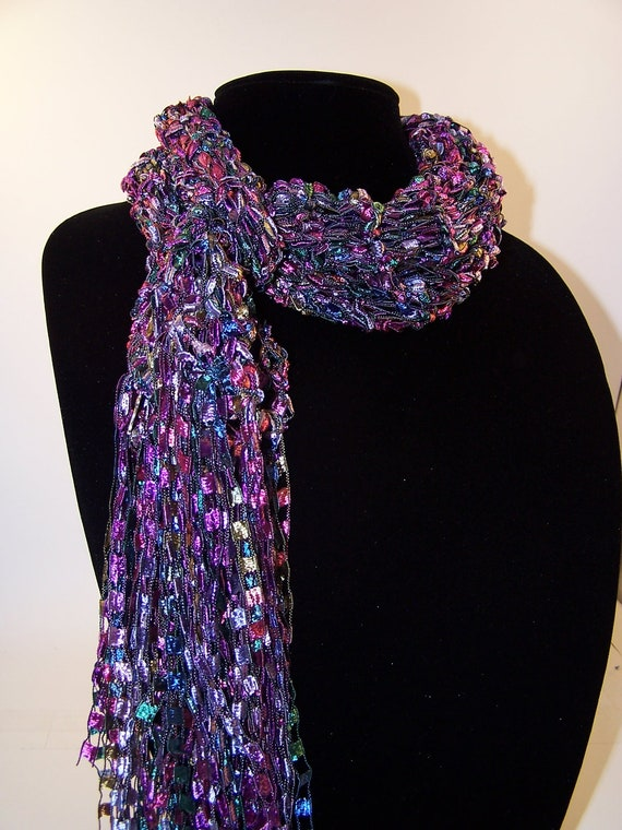 Ladder Yarn Scarf Knit Fashion Scarf Purple by WeeCatCreations