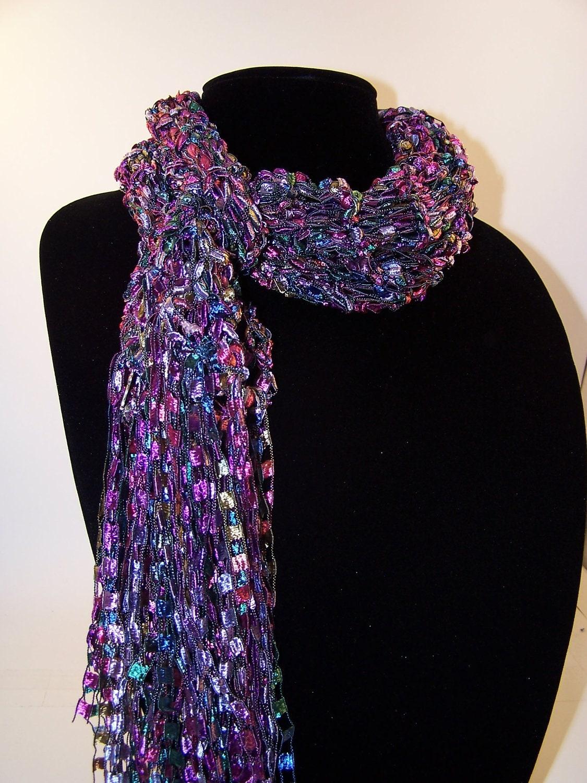 Knit Scarf Pattern Ladder Yarn : Ladder Yarn Scarf Knit Fashion Scarf Purple by WeeCatCreations