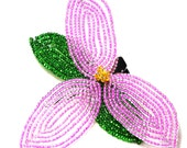 French Beaded Flower Hair Clip, Pink Trillium, Other Colors Available