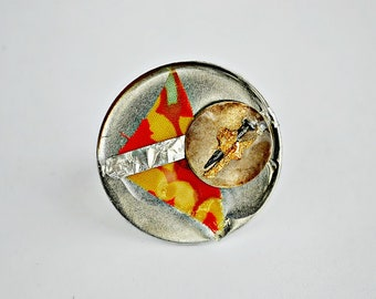 Orange Crying,Circle,Steel,Fabric,Modern Art,Gold Flakes,Nail,Metal Piece,Foil,Resin,Adjustable, Ring,Cocktail Ring,