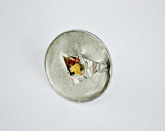 Industrial Round Space,Circle,Modern Art,Resin,Ring,Foil,Plant,Flakes Of Gold,Paprika,Steel,Adjustable Ring,Cocktail Ring
