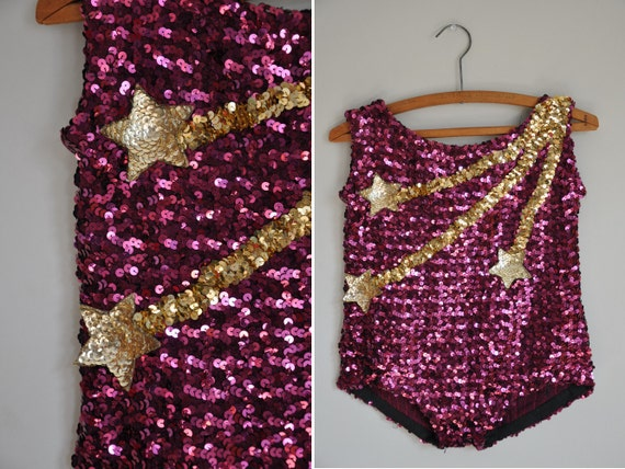 vintage rare showgirl costume / sparkly sequin dance costume / Shooting Stars