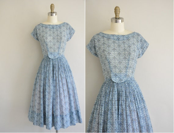 1950s RK dress / 50s dress / 1950s vintage floral print cotton dress