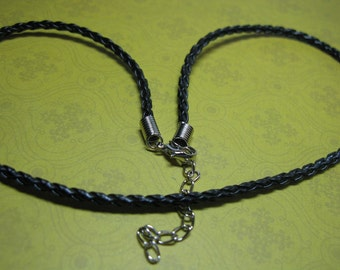 "Black Leather Braided Necklace Cord (17""-20"") - Buy 3 get 1 FREE"