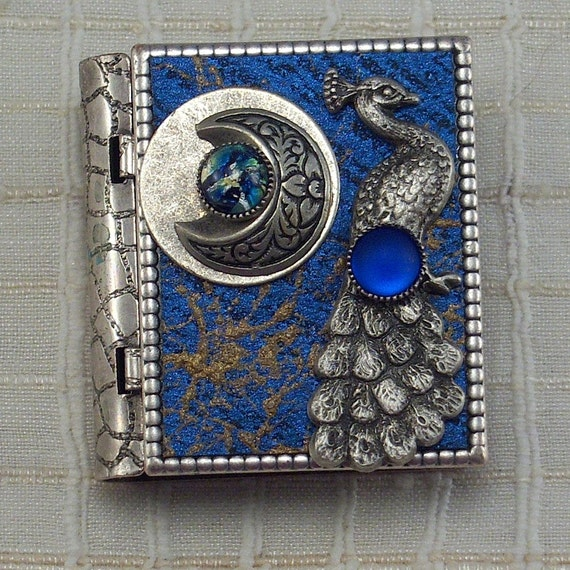 Peacock and Moon-miniature book pin with story inside