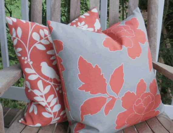 Outdoor Pillow Cover: Dwell Studio Designer Indoor Outdoor 18 X 18 Accent Throw Pillow Cover in Coral