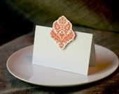Tangerine Damask Place cards, escort cards in Damask- for events weddings, parties and holiday entertaining