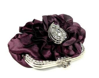 Purple Bridal Clutch, Plum Bridal Clutch, Bridesmaids Clutch, Ruffle Clutch, Purple Evening Bag, Crystal Heart Clutch, Bridal Accessories