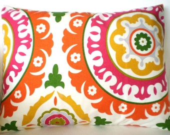 Decorative Pillows Throw Pillow Cushion Covers Raspberry Orange Yellow Green Gray Cream Suzani Waverly Solar Flair BOTH SIDES - One 12 x 16