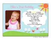 Photo Birthday Invitation, Printable Digital File, Sunshine, Daisies, Flowers, Butterfly, 1st Birthday, 2nd Birthday, Custom