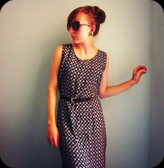 RESERVED - LONG sundress elegant maxi dress patterned beach dress navy blue size m