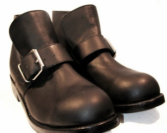 Vintage NaNa Motorcycle Shoes Mens Black Oil Tanned Leather Ankle High Bisquit Boots Mns size 11