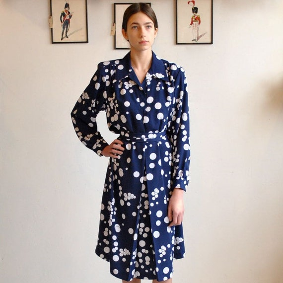 Polka Dot Dress  //  70s Midi Dress   //   BUBBLE MISS
