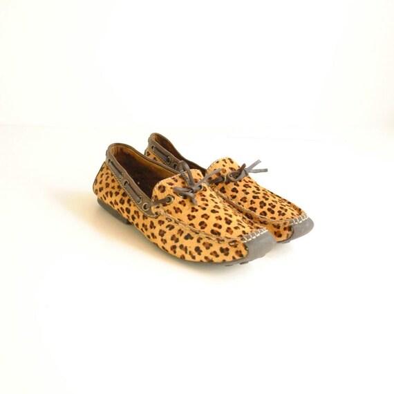 SALE... Leopard Shoes Sz 6  //  Pony Hair Shoes  //  DRIVING MOCCASINS