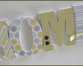 Yellow and Grey Decor, Custom Wood Letters, Nursery Name Art, Chevron, Polka Dots, Home Decor, Housewarming or Shower Gift