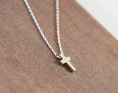 Tiny Cross Necklace,Cute Tiny Cross,Sterling Silver Chain,Simple Necklace,Dainty Jewelry,Delicate Necklace,Silver Necklace,Mothers Day Gift