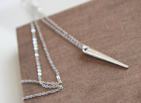 Long Layer Necklace, Silver Spike Necklace,  Delicate Silver Necklace, Dainty Long Necklace, Pretty, Long Layer Necklace
