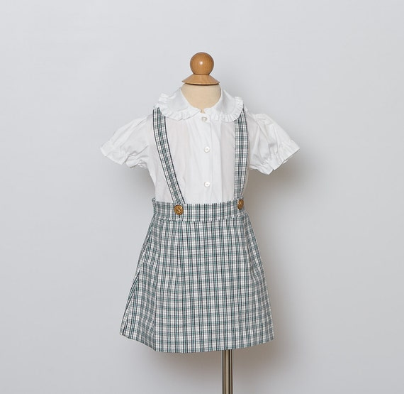 vintage girl's plaid jumper dress and blouse