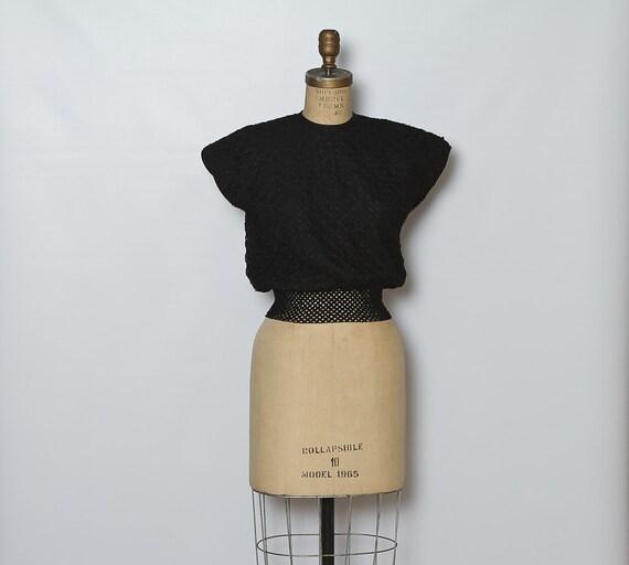 1960s black blouse / ribbon top