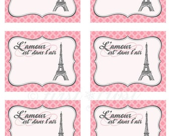 Printable Favor Tags/Cards - French Themed Eiffel Tower Paris Party
