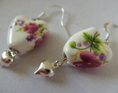 Cottage style, Ceramic, Porcelain, flowers, pink, white,lilac, earrings, love heart, by NewellsJewels on etsy