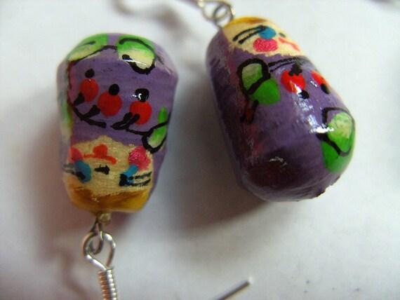 Sweet, wooden, Russian doll, Babushka, earrings, lilac, by NewellsJewels on etsy