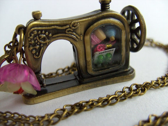 I love SEWING, Bronze sewing machine, miniature sewing materials, necklace, by NewellsJewels on etsy