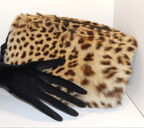 Vintage Leopard Muff Purse, PreBan, Accessories, Women
