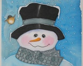 Snowman Quilt Block Hand Painted on Cotton - Top Hat and Chick-a-dee