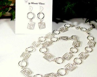 Handcrafted Matching Set-Greek Key and Rings - Necklace, Bracelet and Earrings