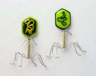 Fused Glass Bacteriophage Virus Magnet Made to Order ONE Magnet
