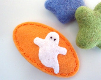 Felt hair clip -No slip -Wool felt -Halloween ghost -peach