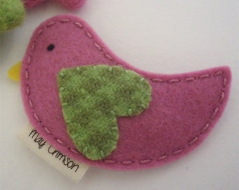 Felt hair clip -No slip -Wool felt -Betty the bird -old pink